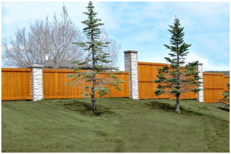 Precast Columns with Wood - Developer Perimeter Fence